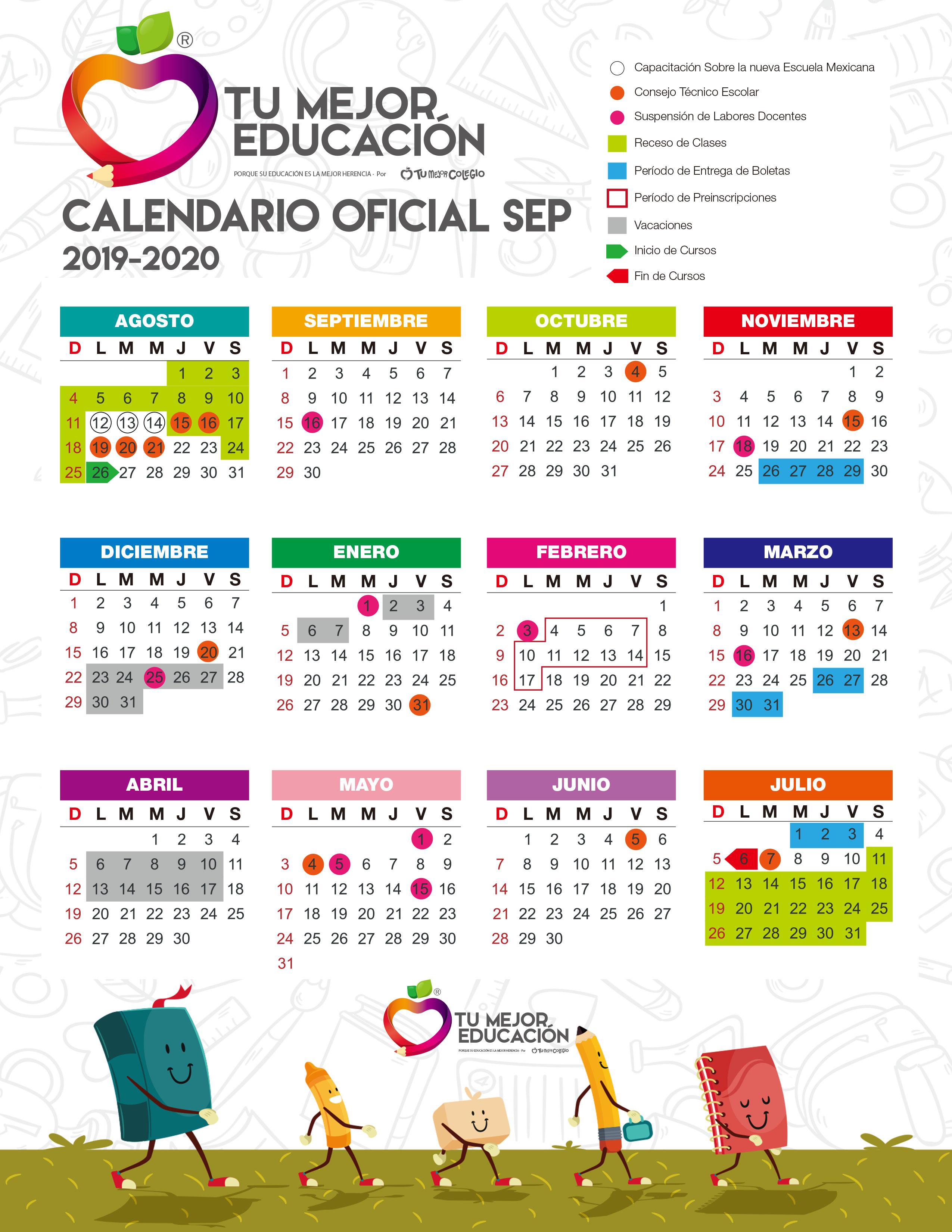 Calendario Escolar 2020 Sep Oficial.Calendario Escolar 2019 2020