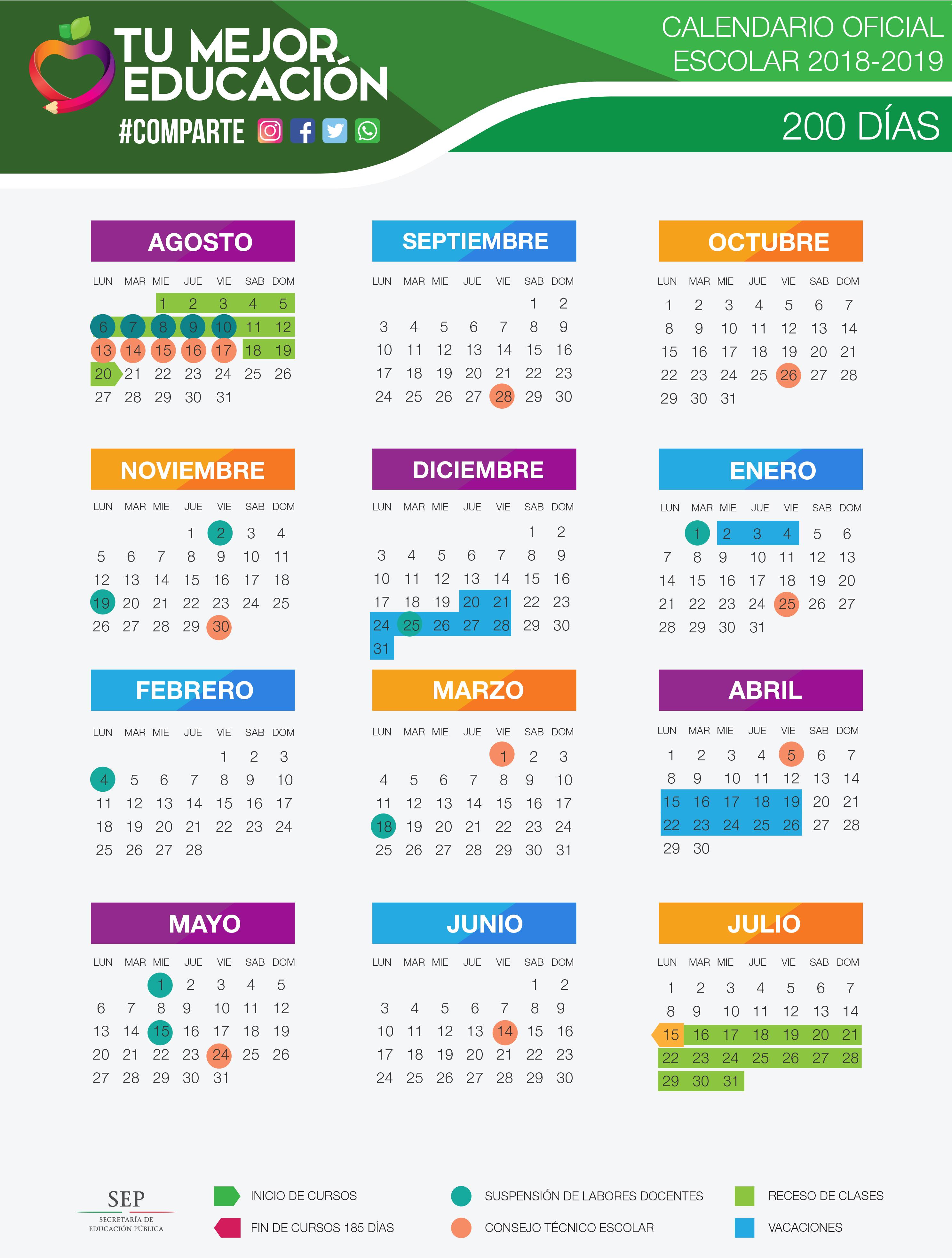 Calendario oficial 2018-2019